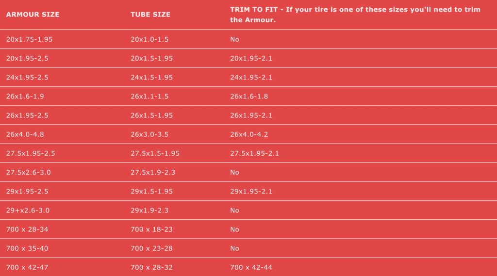 Tannus Armour Size Chart