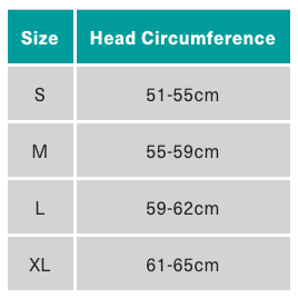 Size chart for Smith Helmets